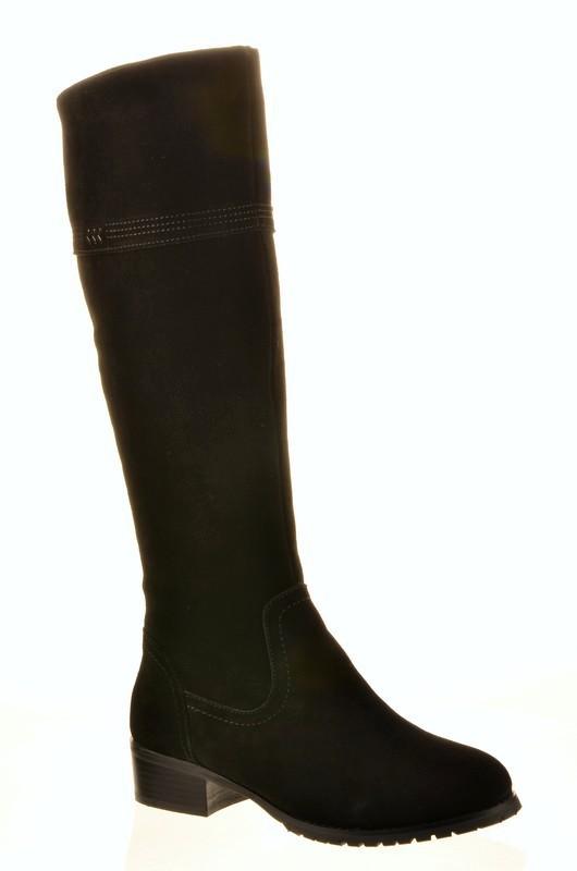 Fashion + AN 21610060 Сапоги женские чер нат замша, подклад нат евро шерсть (до щиколотки модели)